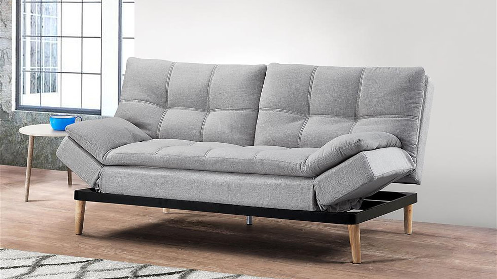 Contemporary Sofa Bed With Multi-Functional Backrest and Arms Light Grey