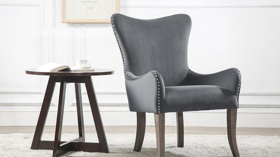 Elegant Ellis Wing Armchair in Grey Velvet