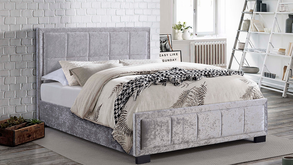 New Fabulous Hannover Steel Crushed Velvet 5ft King Fabric Bed Frame