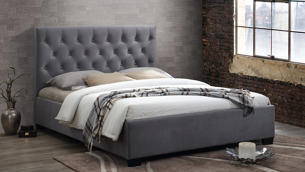 Contemporary Double Grey Fabric Cologne Bed Storage or Non Storage Options