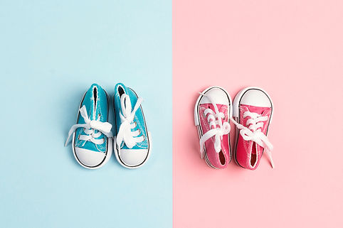 Pink baby girl and blue baby boy sneaker