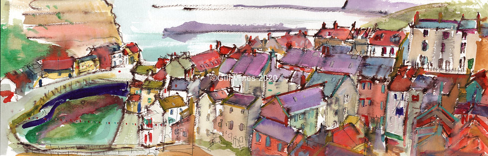 Staithes Harbour Pen and Watercolour