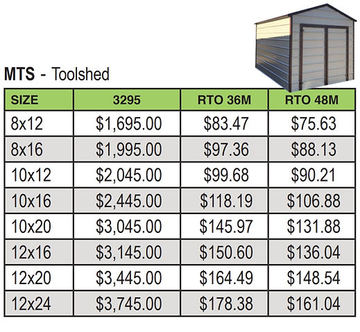 TOOL SHED PRICING