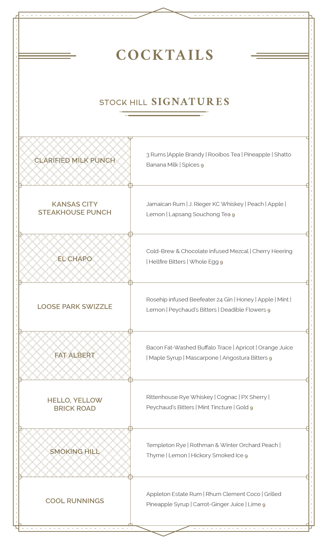 Libations Menu Designs
