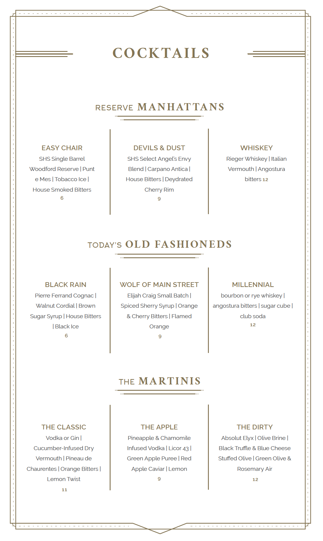 SH Libations Menu Designs