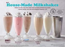 IHOP Milkshakes back of menu