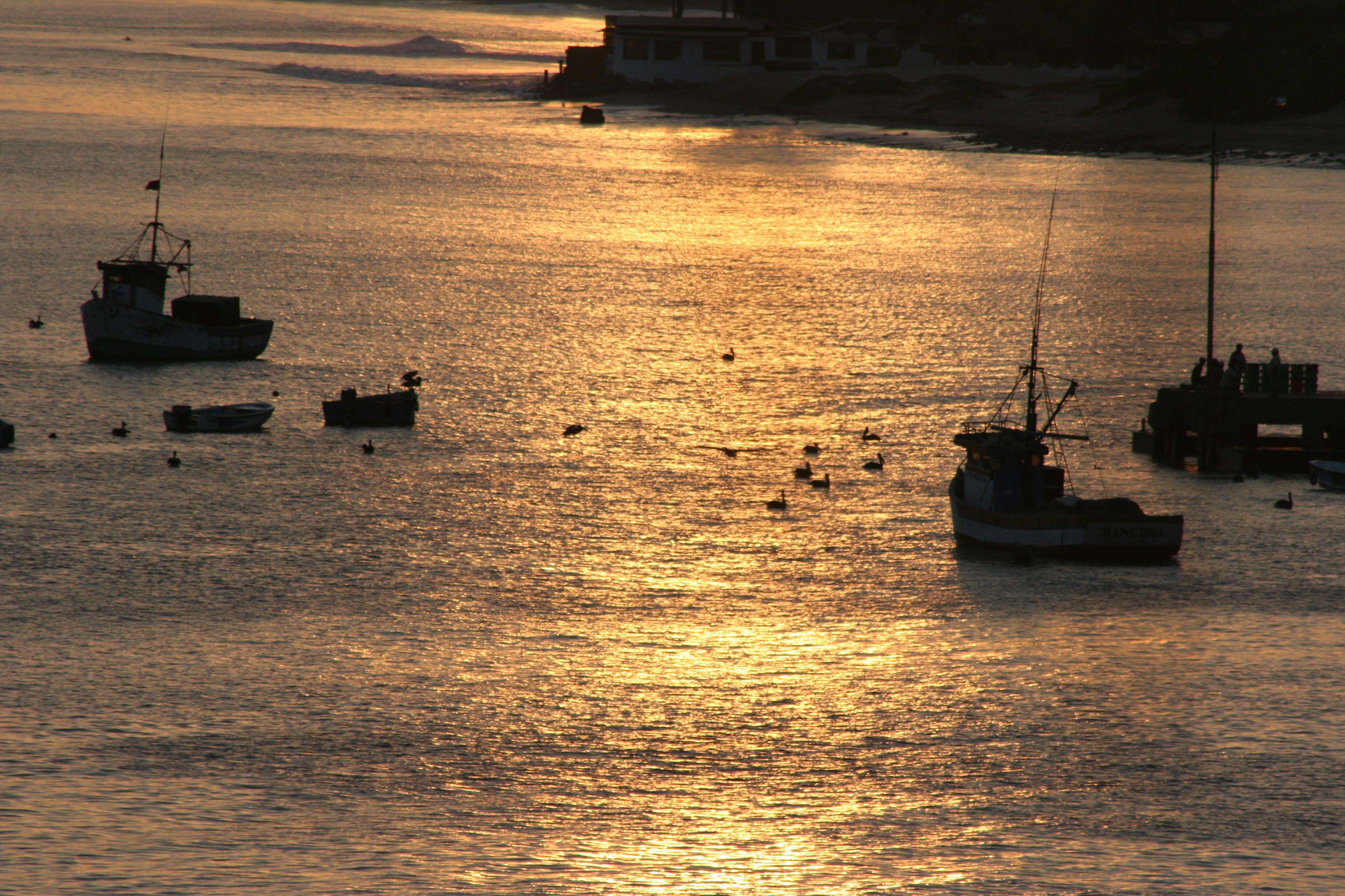 vista en el amanecer de los barcos