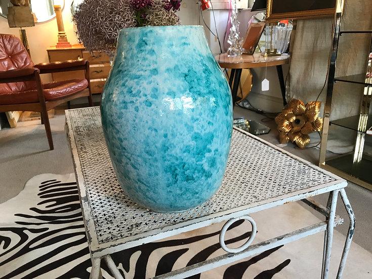 French Glazed Pottery Vase Turquoise 1950