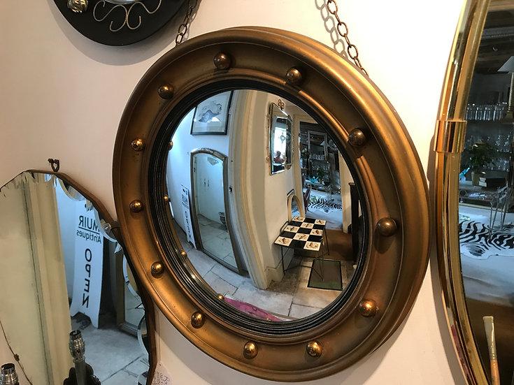 1940's - 50's Gilded Regency Type Convex Mirror