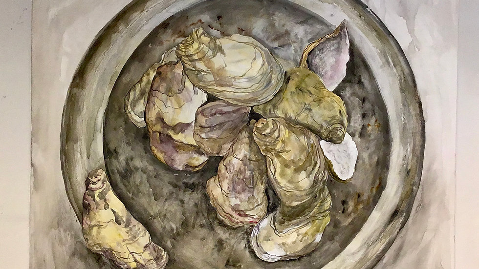 Pewter and Oysters - Studio Painting