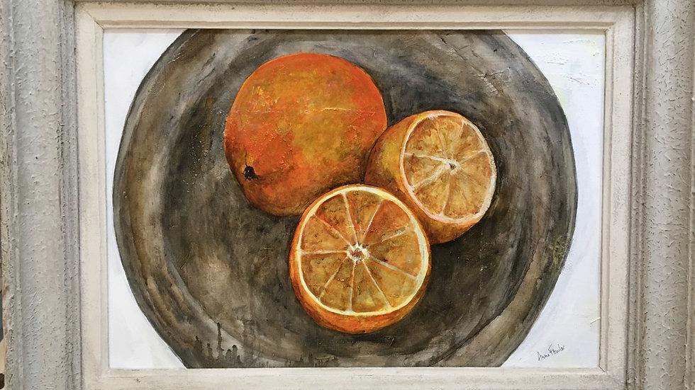 Oranges on Pewter - Studio Painting