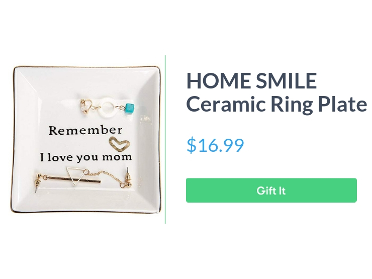 """Home Smile ceramic ring plate, $16.99, with """"Gift It"""" button"""