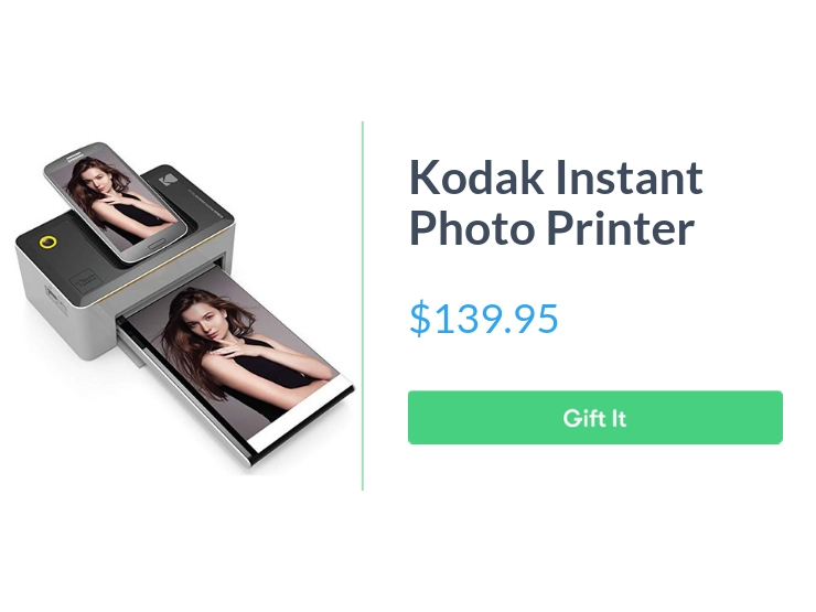 "Kodak instant photo printer, $139.95, with ""Gift It"" button"