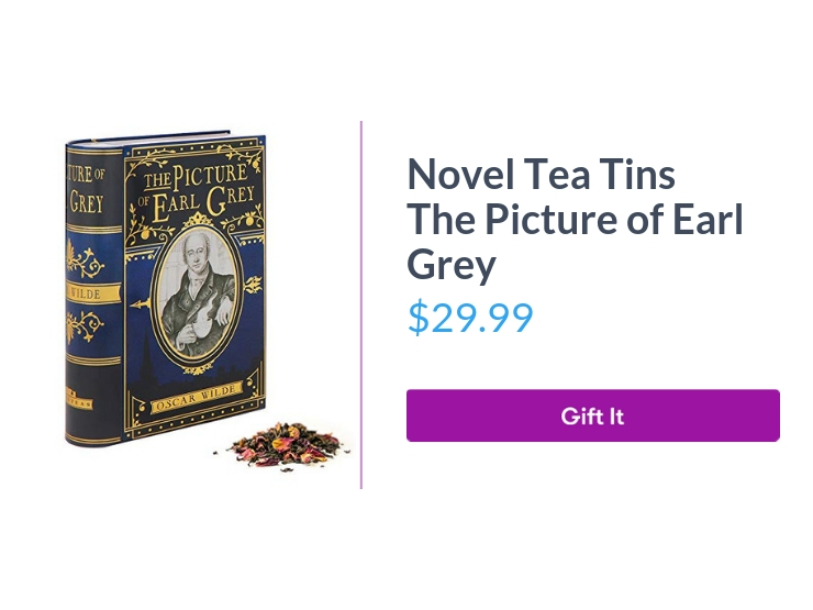 """Novel Tea Tins The Picture of Earl Grey, $29.99, with """"Gift It"""" button"""