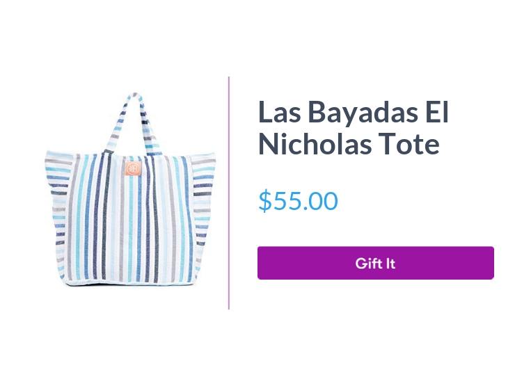 """Las Bayadas Women's El Nicholas Tote, $55.00, with """"Gift It"""" button"""