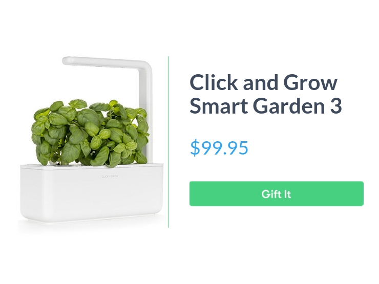 """Click and grow smart garden 3, $99.95, with """"Gift It"""" button"""