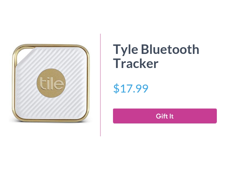 """Tyle Bluetooth Tracker, $17.99, with """"Gift It"""" button"""