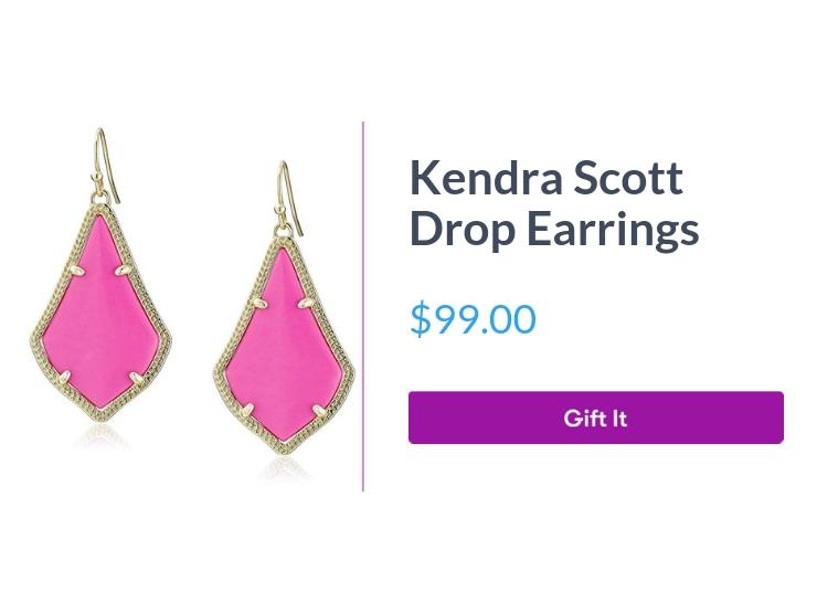 """Kendra Scott Drop Earrings, $99.00, with """"Gift It"""" button"""