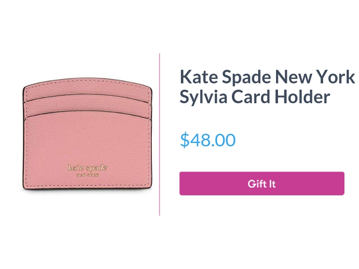 """Kate Spade New York Sylvia Card Holder, pink, $48.00, with """"Gift It"""" button"""