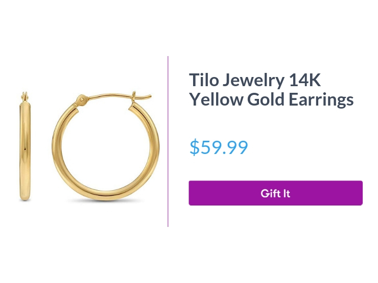 """Tilo Jewelry 14K Yellow Gold Earrings, $59.99, with """"Gift It"""" button"""