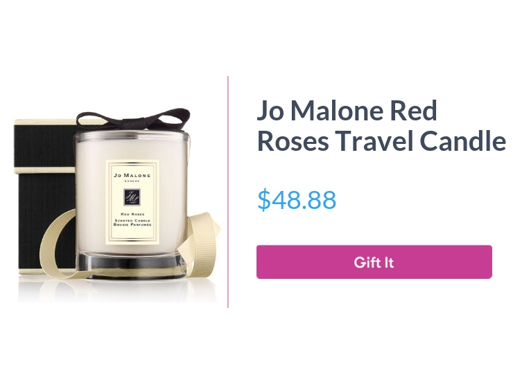 """Jo Malone Red Roses travel candle, $48.88, with """"Gift It"""" button"""
