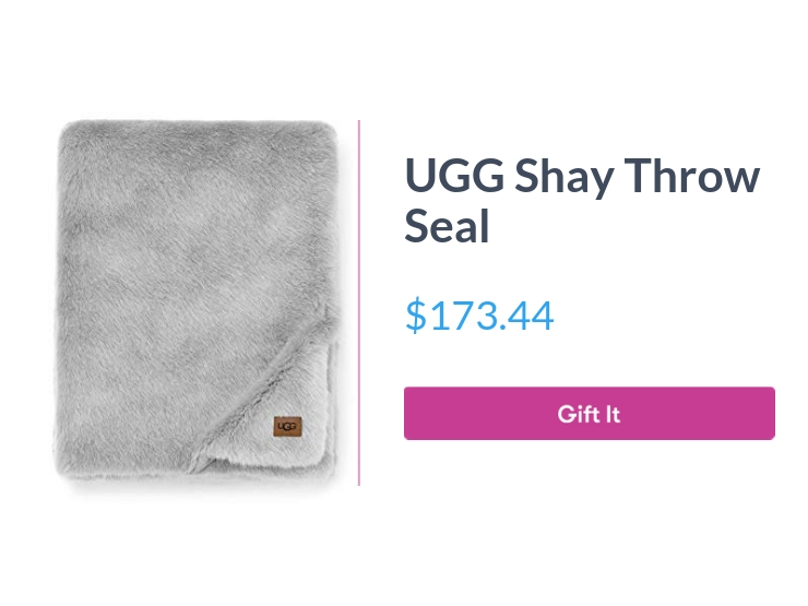 """UGG Shay Throw Seal, $173.44, with """"Gift It"""" button"""