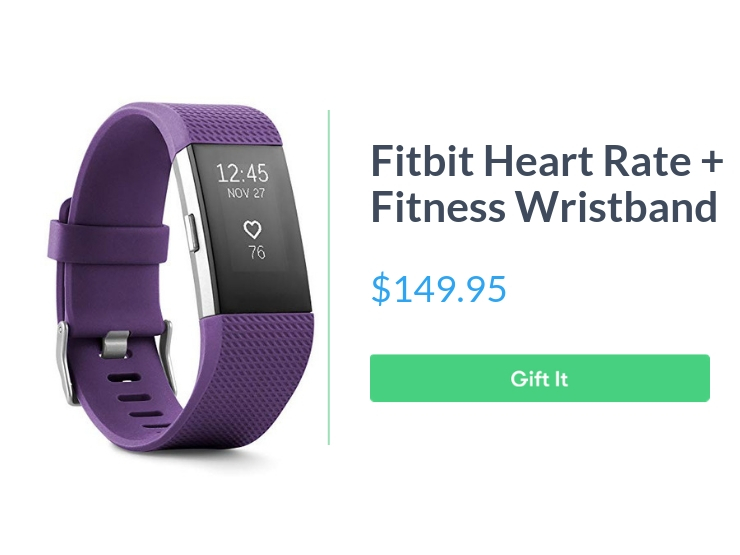 """Fitbit Charge 2 Heart Rate + Fitness Wristband, Plum, Small , $149.95, with """"Gift It"""" button"""