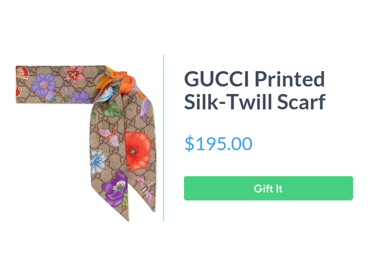 """GUCCI printed silk-twill scarf, $195.00, with """"Gift It"""" button"""