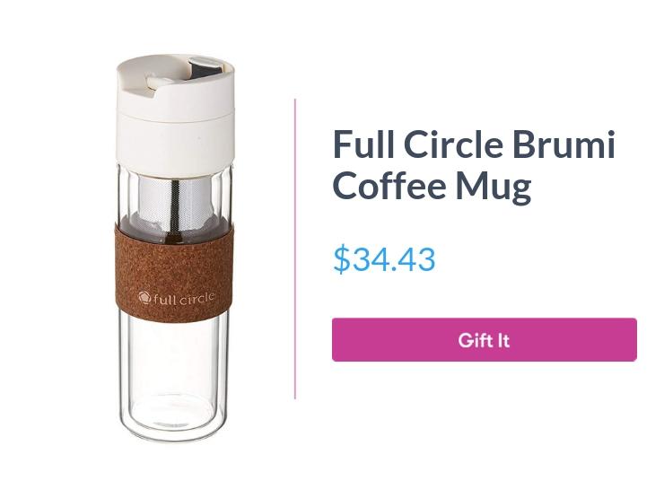 "Full Circle Brumi coffee mug, $34.43, with ""Gift It"" button"