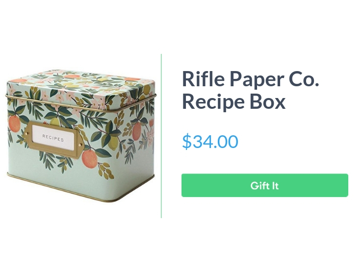 """Rifle Paper Co. Recipe Box - Citrus Floral, $34.00, with """"Gift It"""" button"""