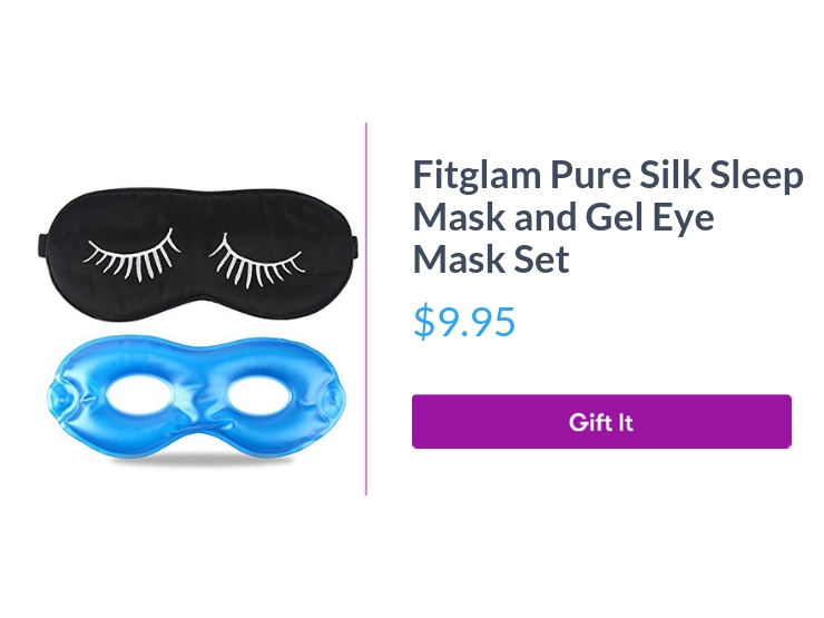 """Fitglam pure silk slieep mask and gel eye mask set, $9.95, with """"Gift It"""" button"""