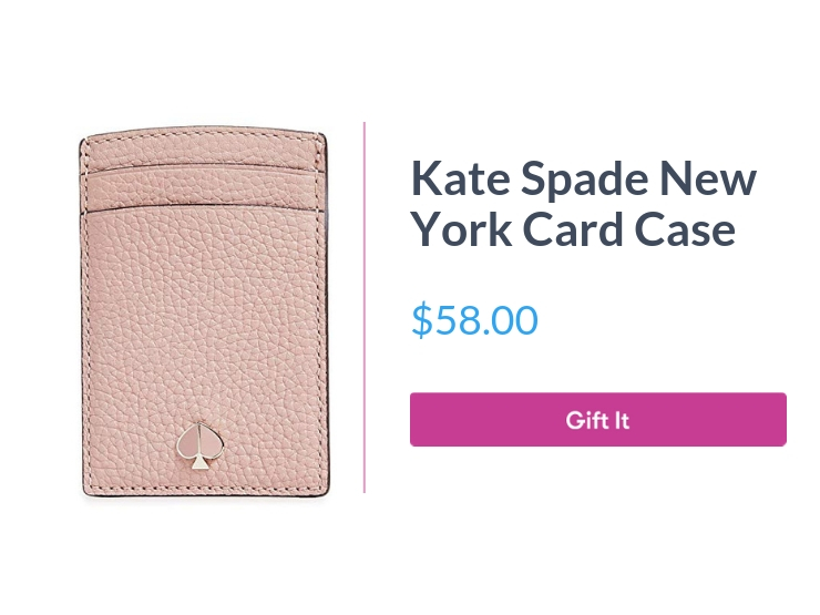 """Kate Spade New York Card Case, $58.00, with """"Gift It"""" button"""