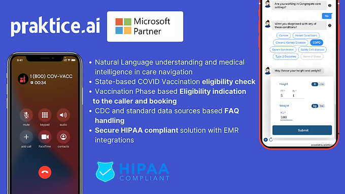 Praktice AI's Digital COVID Vaccine Assistant is now available on Microsoft AppSource & Azure Marketplace