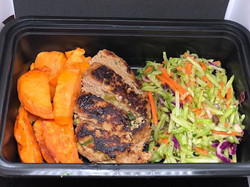 Grilled Turkey Patty with broccoli slaw