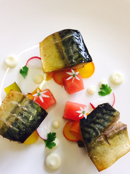 Fillets of Smoky Line Caught Mackerel with pickles, watermelon & wasabi  mayo