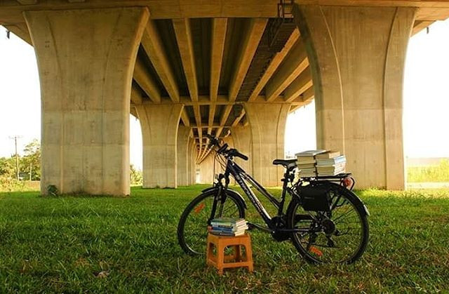 A bikelibrary met a bikepacking at my fa