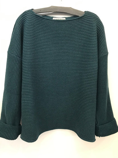 CROP Shaker Knit Boatneck Sweater