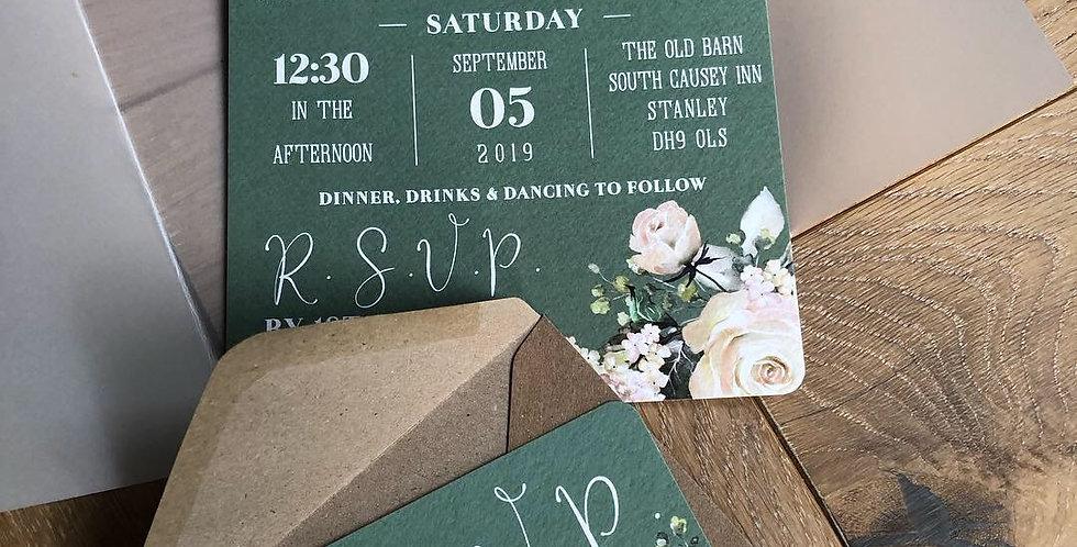 Sage Green & Floral Invitation & RSVP