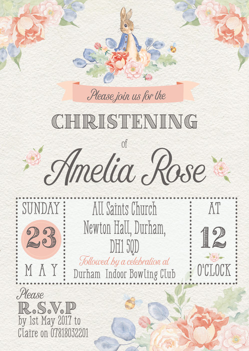floral peter rabbit christening invitation