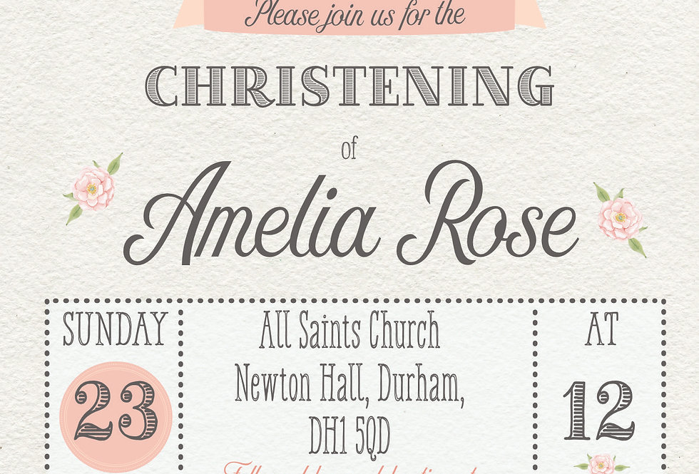 Peter Rabbit Christening/Baptism Invitation