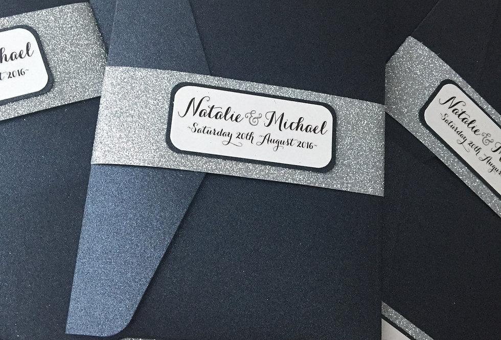 GABRIELLA Glitterband Pocketfold Wedding Invitation