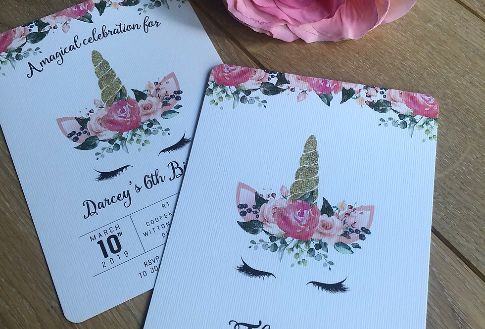Unicorn & Rose Birthday Invitations