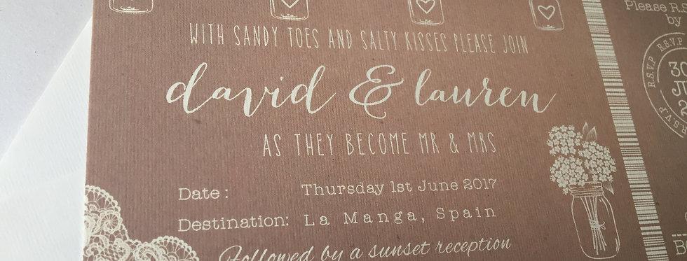 Jars, Lace & Kraft Rustic Boarding Card