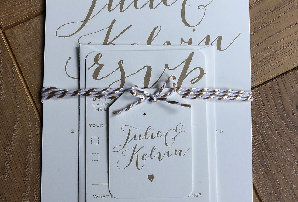 Twine and Tag wedding invitation Pale Gold