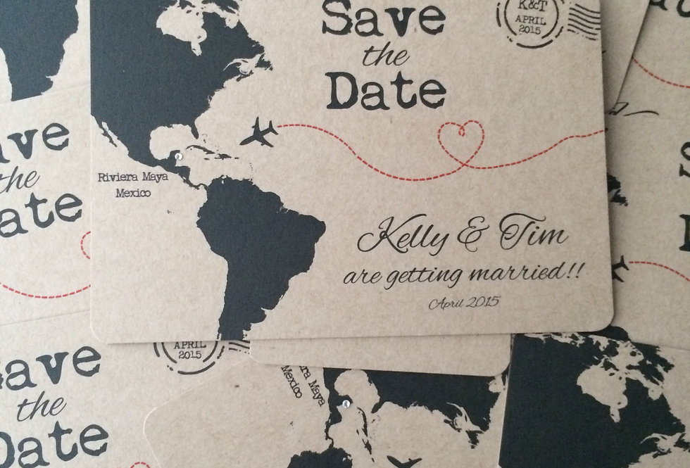 MAP BROWN KRAFT Save the Date