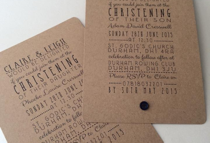 JUST WORDS Christening invitation with button