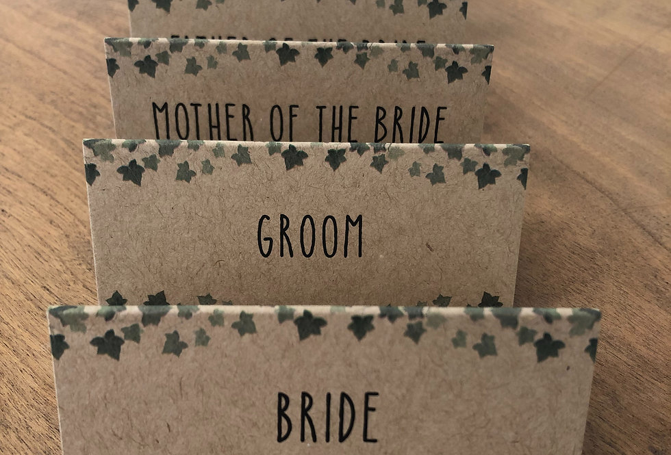 Flat personalised Place Cards Designs Vary