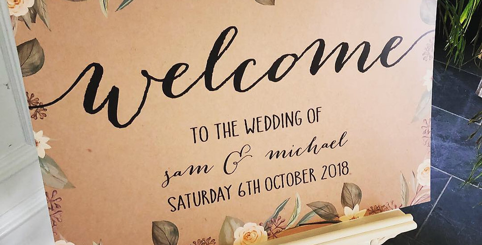 Florence Rustic Floral Wedding Welcome Board
