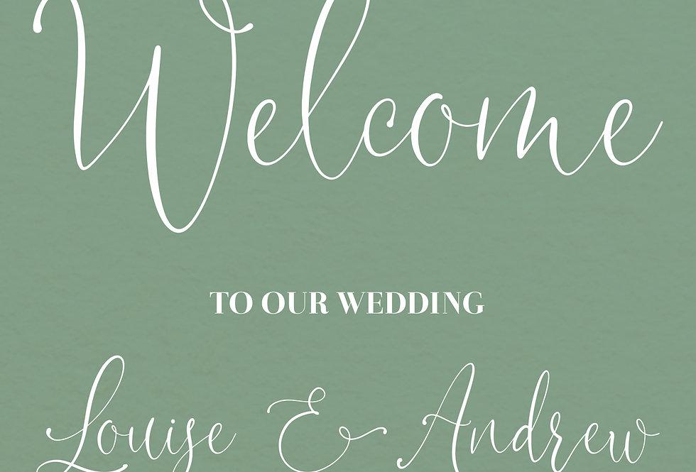 SAGE GREEN FLORAL WEDDING WELCOME BOARD