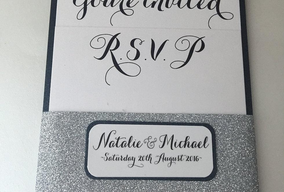 GABRIELLA Glitter Band Flat layered Invitation